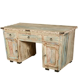 Rustic Reclaimed Wood Scalloped Edge Executive Desk with Drawers
