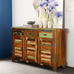 New Memories Rustic Reclaimed Wood Louvered Door 3 Drawer Sideboard