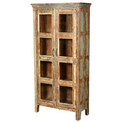 New Memories Rustic Reclaimed Wood 4 Shelf Bookcase With Glass Doors