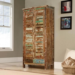 Buford 2 Drawer Shutter Door Solid Reclaimed Wood Armoire With Shelves