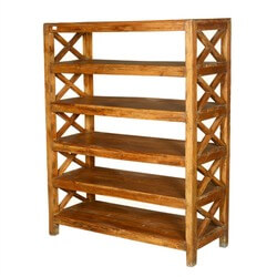 Dallas Ranch Rustic Reclaimed Wood 5 Open Shelf Bookcase