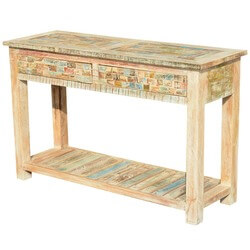 "Paint Box Reclaimed Wood Pastel 47.5"" Console Hall Table w Drawers"
