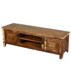 New Memories Reclaimed Wood Open Shelf Rustic Media Console Cabinet