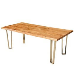Solid Wood & Iron Rustic Live Edge Dining Table