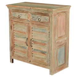 Deltona Reclaimed Wood Shutter Door 2 Drawer Rustic Buffet Cabinet