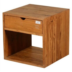 Contemporary Open Front & Back Teak Wood Storage Cube w Drawer