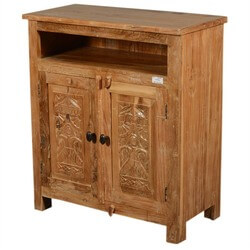 Hand Carved Mango Wood Salvatore Storage Cabinet with Open Shelf