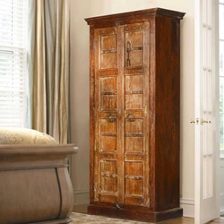 Ashmore Handcrafted Gothic Gates Solid Reclaimed Wood Tall Cabinet