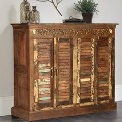 Ardin Rustic Reclaimed Wood Shutter Door Tall Sideboard Cabinet