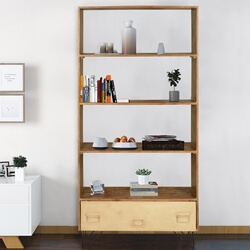 Tijuana Industrial 4 Open Shelf Bookcase With Drawer