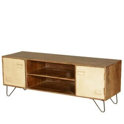 Industrial Mango Wood & Iron Office Cabinet Doors TV Media Island