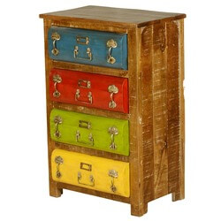 Steam Punk Multi-Color Mango Wood & Iron 4 Drawer Dresser