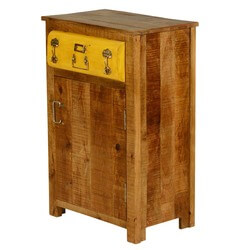 Layton Steam Punk Mango Wood 1 Drawer Freestanding Nightstand Cabinet