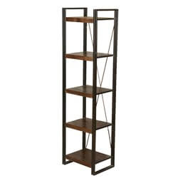 "Industrial 5-Shelf Mango Wood & Iron 79"" Open Side Tower"