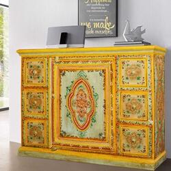 Sun Garden Hand Painted Mango Wood 6 Drawer Sideboard Cabinet