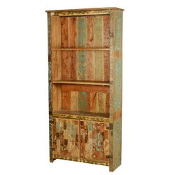 Spring Forest Rustic Reclaimed Wood 3 Open Shelf Hutch Bookcase