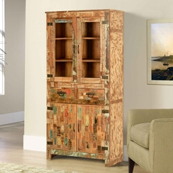 Mondrian Rustic Reclaimed Wood 2 Drawer Tall Display Cabinet