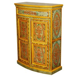 Manorhaven Hand Painted Mango Wood Storage Console Hall Cabinet