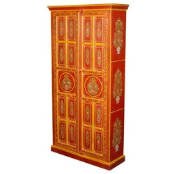 Fire Garden Hand Painted Mango Wood Armoire Cabinet