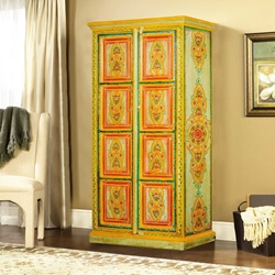 Hearts & Flowers Hand Painted Mango Wood 2-Door Armoire Cabinet