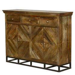 Parquet Diamond Mango Wood 3 Drawer Tall Sideboard Cabinet