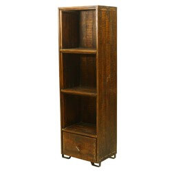 Modern Scholar Reclaimed Wood 3-Shelf Display Bookcase w Drawer