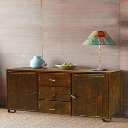 Rustic Reclaimed Wood Storage Cabinet 3 Drawer Sideboard Buffet