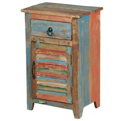 Country Washboard Door Reclaimed Wood 1 Drawer Nightstand