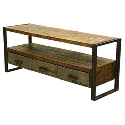 Modern Rustic Reclaimed Wood 3 Drawer Industrial Media Console
