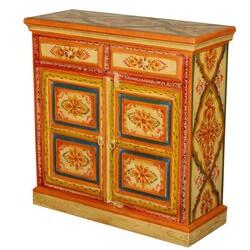 Golden Sun Garden Hand Painted Mango Wood 2 Drawer Sideboard Cabinet