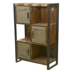 Brainard Reclaimed Wood 6 Cubical Industrial Storage Wall Unit
