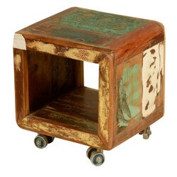 Moorestown Reclaimed Wood Rolling Wheel Cubical End Table