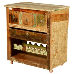 Merizo Rustic Reclaimed Wood Rolling Wheel Bar Cabinet With Wine Rack