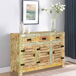 Carencro Reclaimed Wood Locker Door 3 Drawer Rustic Sideboard Cabinet