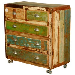 Retro Rustic Reclaimed Wood Rolling 5 Drawer Chest