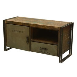 Saltaire Rustic Reclaimed Wood Industrial Media Console Cabinet