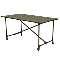 "Industrial On the Move Iron Rolling 59"" Work Space Table"