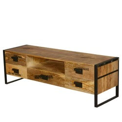 Science Expedition Mango Wood & Iron TV Stand Media Cabinet