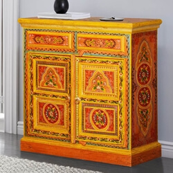 Bradford Hand Painted Mango Wood 2 Drawer Storage Cabinet
