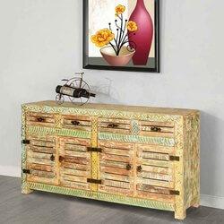 Carencro Rustic Reclaimed Wood Locker Door 4 Drawer Large Sideboard