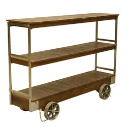 Industrial Rolling Reclaimed Wood & Iron 3 Tier Console Cart Table