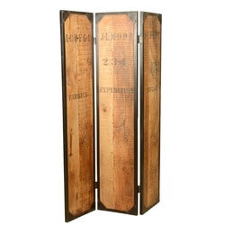 Rustic Iron and Acacia Wood 3 Panel Folding Screens Room Space Divider