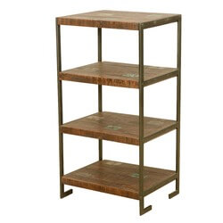 Oklahoma Rustic Reclaimed Wood 4 Tier Industrial End Table