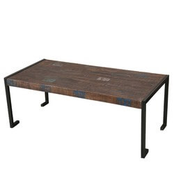 Philadelphia Reclaimed Wood Industrial Metal Frame Rustic Coffee Table