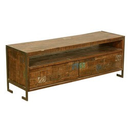 Macon Reclaimed Wood 2 Drawer Industrial Rustic Media Console TV Stand