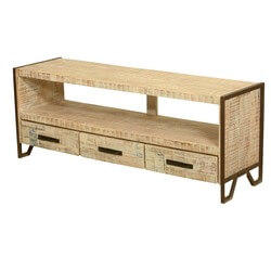 Burnside Fusion Reclaimed Wood Industrial Rustic Media Console