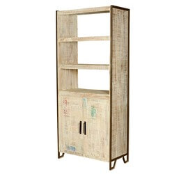 Fresnillo 3 Open Shelf Rustic Reclaimed Wood Industrial Bookcase Hutch