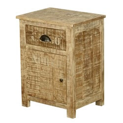 Amish Rustic Solid Wood 1 Drawer Bedside Nightstand Cabinet