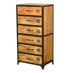 Fusion Industrial Mango Wood 6 Drawer Chest