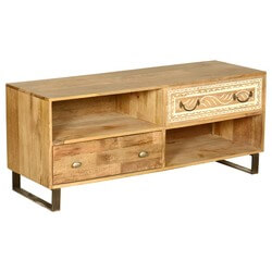Modern Rustic Solid Wood 2 Drawer Entertainment Center TV Stand